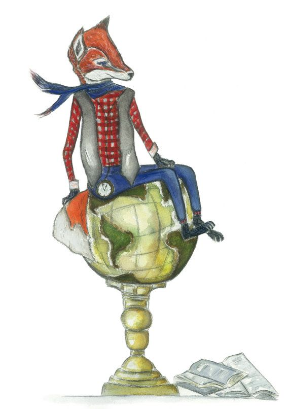 a4 fox on globe art print fox print by jessicasarahdesign on Etsy