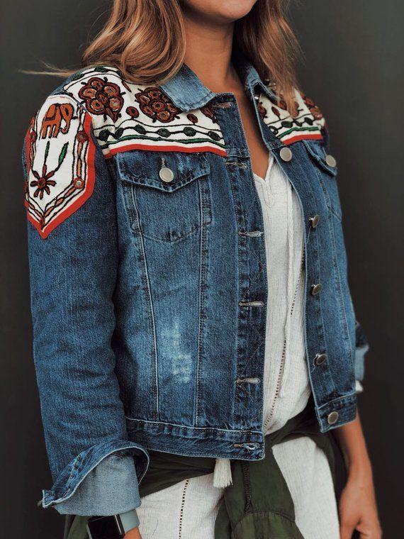 a9962563b75 Embellished Jeans Jacket, boho chic embroidered denim jacket, festival  fashion Gypsy jeans, Beaded