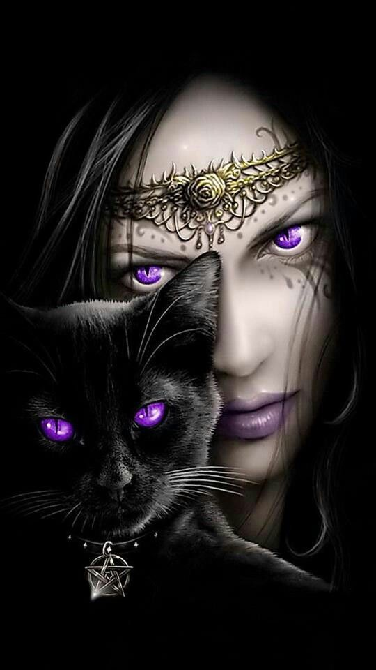 One Day, I'll Do A Picture Like This With My Own Black Cat. The Purple Eye's Are Mesmerising.
