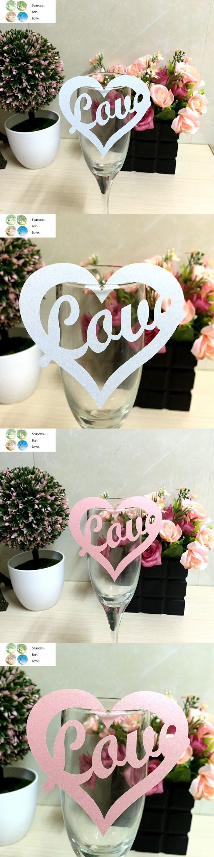50pcs love heart  laser Cut Paper Place Card wedding favors and gifts Escort Cup Card Wine Glass Card party birthday supplies $6.58
