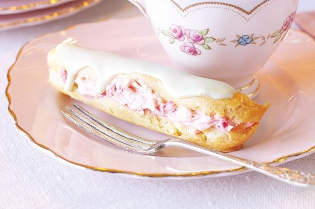 For a sweet twist on traditional chocolate eclairs, dress them up in pretty pastel colours and add a splash of rosewater essence.