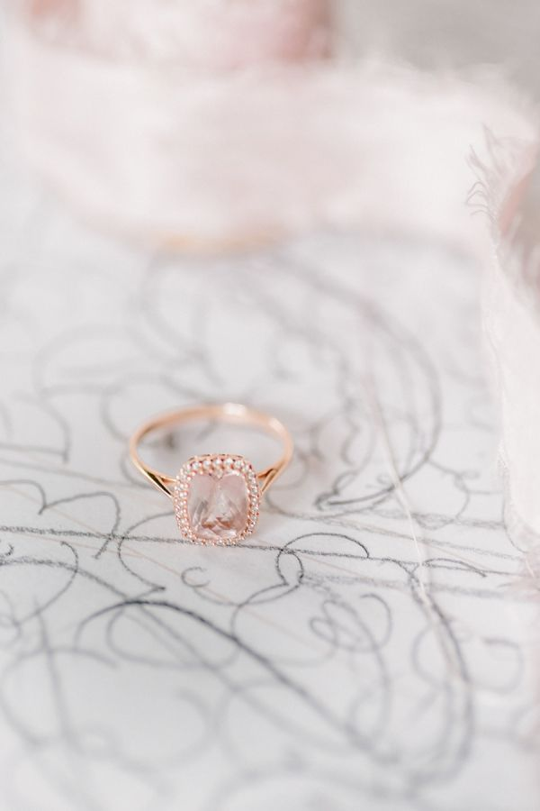 Rose gold ring with a whisper of blush: http://www.stylemepretty.com/2015/08/22/15-romantic-sophisticated-details-for-a-ballet-inspired-wedding/
