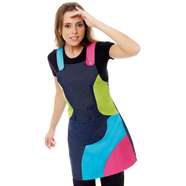 Un pichy de tela de vaquero, muy resistente y con coloridas ondas, te protegerá de todo con mucho color