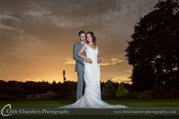 Waterton Park hotel wedding photography   Waterton Park wedding photographer   http://www.chrischambersphotography.co.uk   Waterton Park Hotel wedding photography of the bride and groom at sunset.