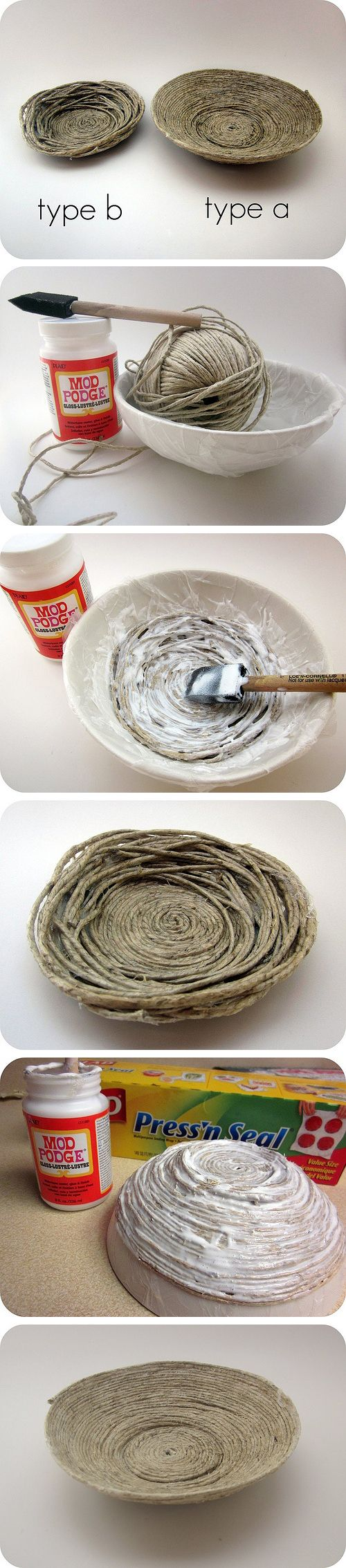 bowl: Diy Bowls, Projects, Yarns Bowls, Crafts Ideas, Diy'S, Birds Nests, Mod Podge, String Bowls, Ropes