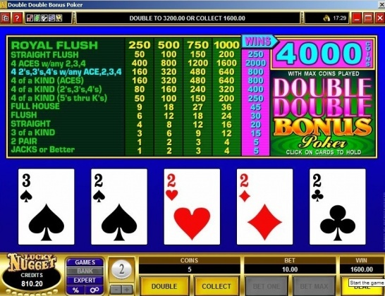 Double Double Bonus Poker - 4 Deuces with small card! Decent 1600€ BigWin! You can find hundreds of Big Win pictures and more videos here: http://www.bigwinpictures.com