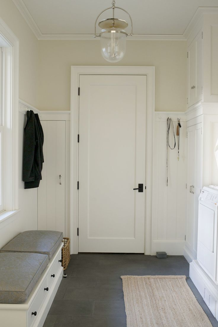 """Every house needs this mudroom: The back entrance used 90% of the time for coats shoes backpacks & mail before they clutter up the rest of the house. This room, """"the guts of the house,"""" should contain plenty of storage options, including hooks and cabinets. It should also have shiplap instead of sheet rock since it's bound to get beaten up. Perfect space for the laundry  and utility (vacuum/cleaning) cabinet."""