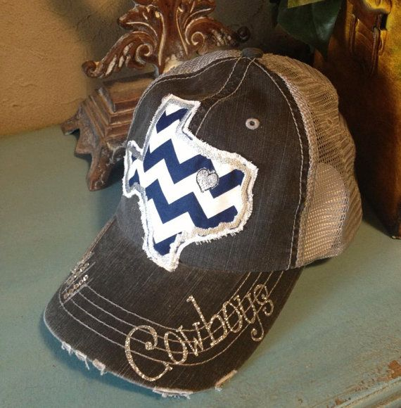 Dallas Cowboys Texas State Baseball Bling Ladies Womens Trucker Hat
