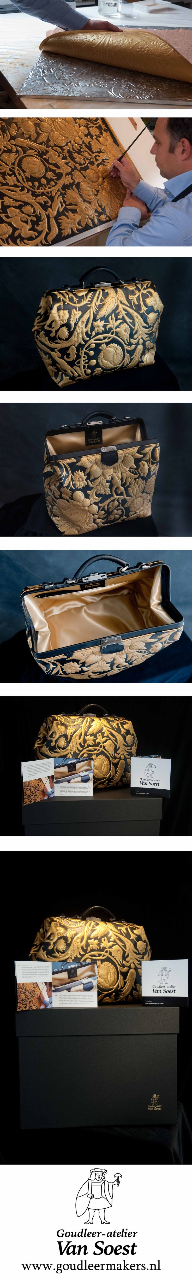 This handbag was designed in cooperation between Goudleeratelier Van Soest and Mutsaers Leatherware, and will be distributed in two editions only. Goudleeratelier Van Soest is the Netherlands' only gilded leatherworker. The second-generation owner of the atelier continues to keep the aging craft of gilded leather alive today.   www.goudleermakers.nl