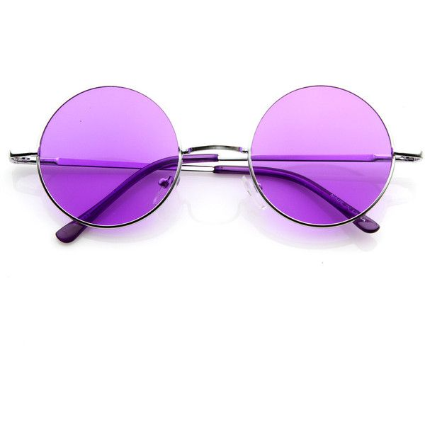 Lennon Style Round Circle Metal Sunglasses w/ Color Lens Tint ($10) ❤ liked on Polyvore featuring accessories, eyewear, sunglasses, sunglass, tinted sunglasses, round metal sunglasses, circular sunglasses, circle glasses and round glasses