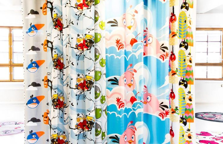 Here comes the new Angry Birds curtains! - Angry Birds Interior Collection by Vallila