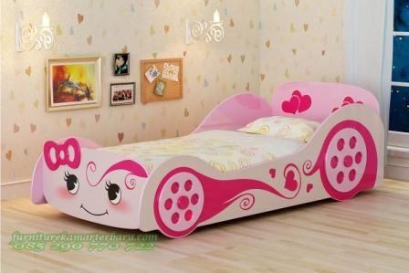 Tempat tidur anak cartoon ini sesuai dengan namanya maka dipan anak tersebut mempunyai desain cartoon atau anima yang sangat disukai oleh anak perempuan serta di cat dengan warna kombinasi pink cat duco