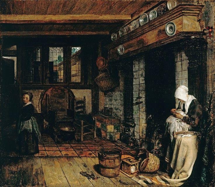 Бурсе, Эсайас (1631-1672) - Голландский интерьер с вышивающей женщиной.