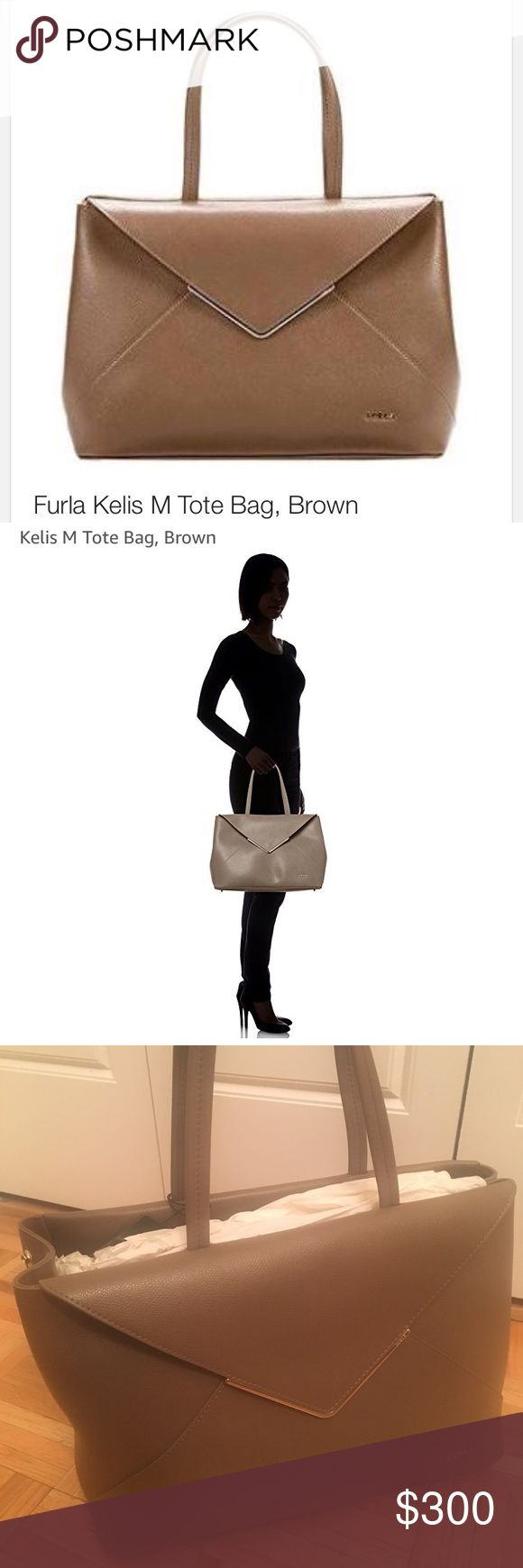 Furla Kelis Medium Tote Brand new with tags! Never used. Gorgeous tote for work or play  Medium sized tan tone with gold accents. Fits over shoulder Furla Bags Shoulder Bags