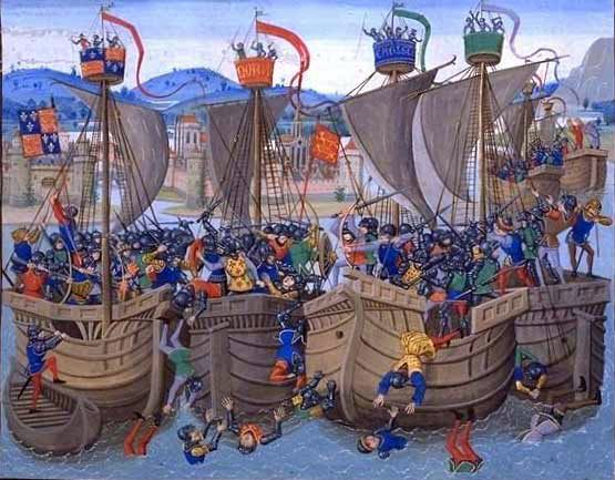 The Battle of Sluys was a naval battle off the coast of what is now the Netherlands in 1340. It was one of the first battles of the Hundred Years War between England and France. http://simon-rose.com/books/the-heretics-tomb/historical-background/