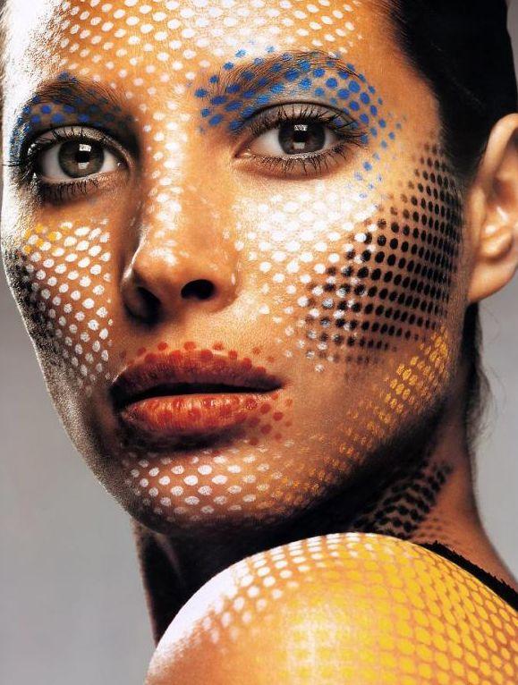 Pop art? Pixel? High fashion? Why not all three?! Love this makeup idea! - 12 Pop Art Makeup Ideas