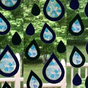 Tissue Paper Stained Glass Raindrops