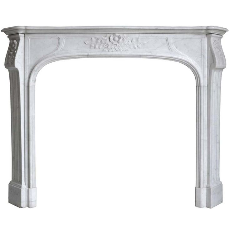 French Art Nouveau Period White Marble Fireplace - Late 19th Century