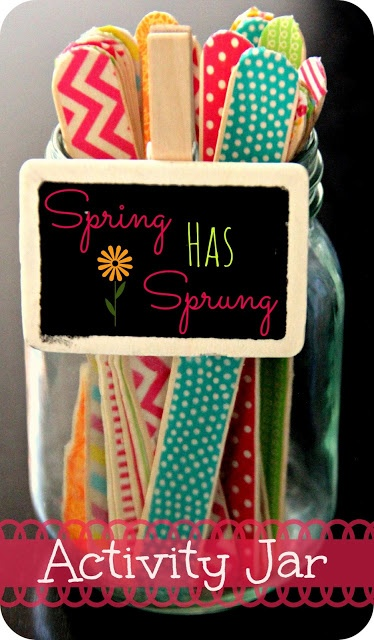 Blue Skies Ahead: Spring Has Sprung Activity Jar! (craft sticks with activity ideas on the back)