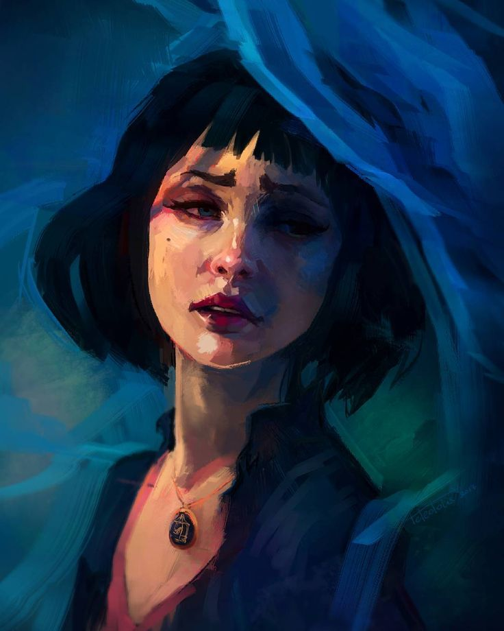 Why so blue?... Check out the whole thing at my patreon /facebook /tumblr #bioshock #portrait #art #digitalart  #artist #woman #sadness