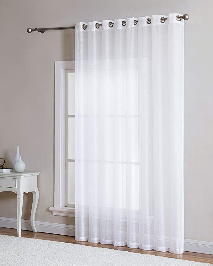 Amazon Com Linenzone Semi Sheer Grommet 1 Extra Wide Patio Curtain Panel 102 Inch Wide 84 Inch Long Ideal F Sheer Curtains Stylish Curtains Curtains