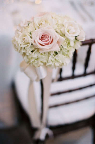 **chairs for bride and groom? pink roses, white hydrangea**