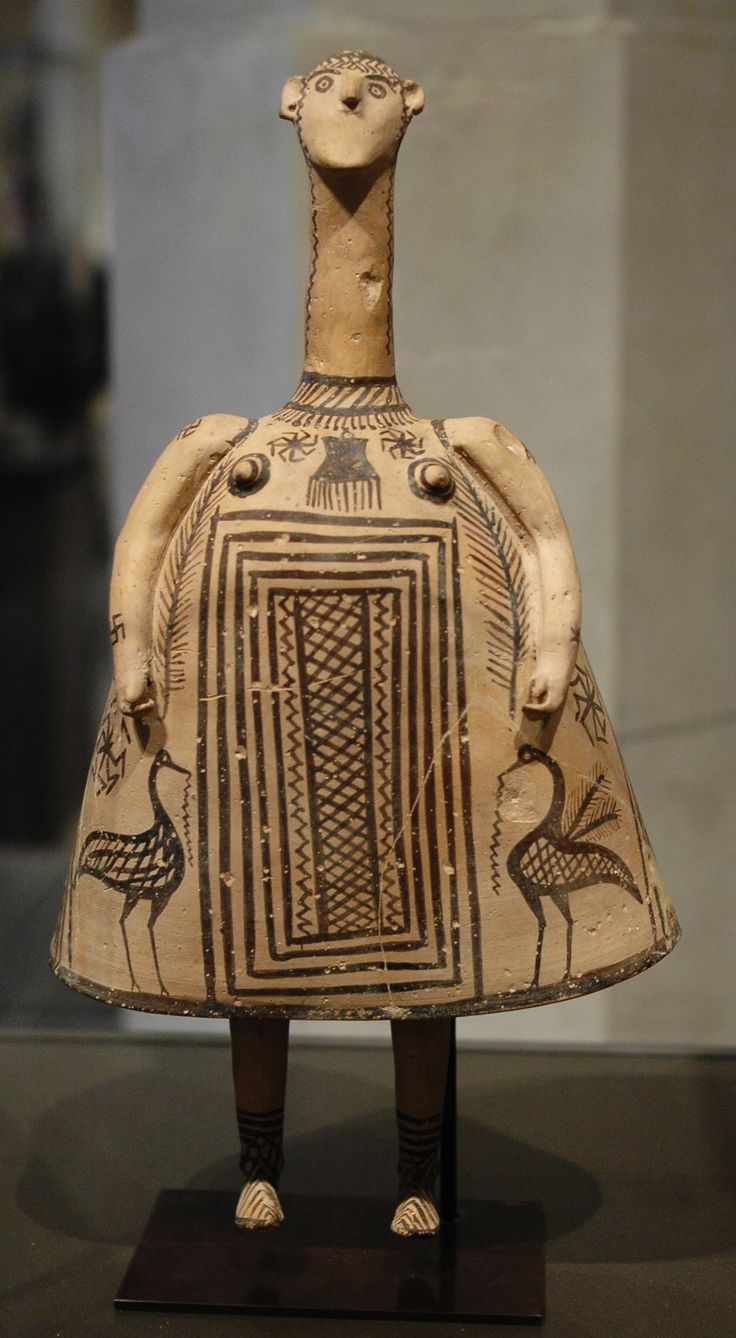 Bell idol. Terracotta figurine, 7th century BC (Late Geometric period) http://www.pinterest.com/elenischool/our-heritage-greece-throughout-the-ages/