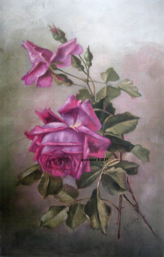 FREE SHIP Print Dramatic Pink Roses CP4 by VictorianRosePrints, $9.99