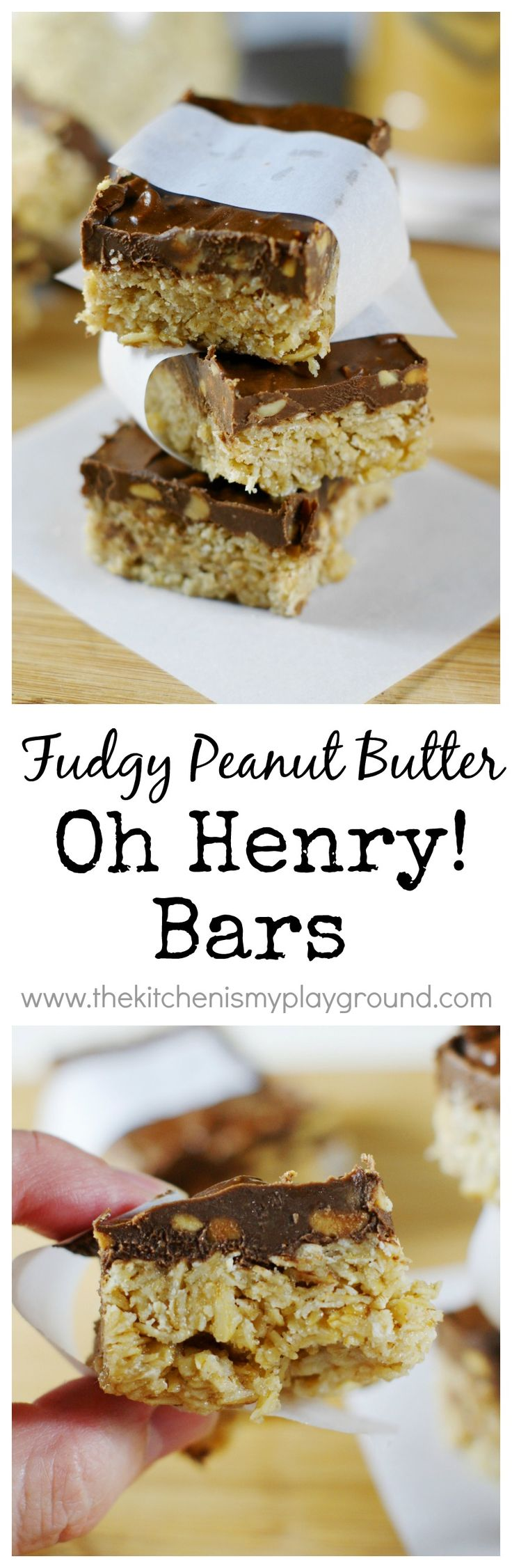 Classic Oh Henry Bars ~ scrumptious, ooey-gooey fudge and peanut butter goodness. It's no wonder they're always a hit! www.thekitchenismyplayground.com
