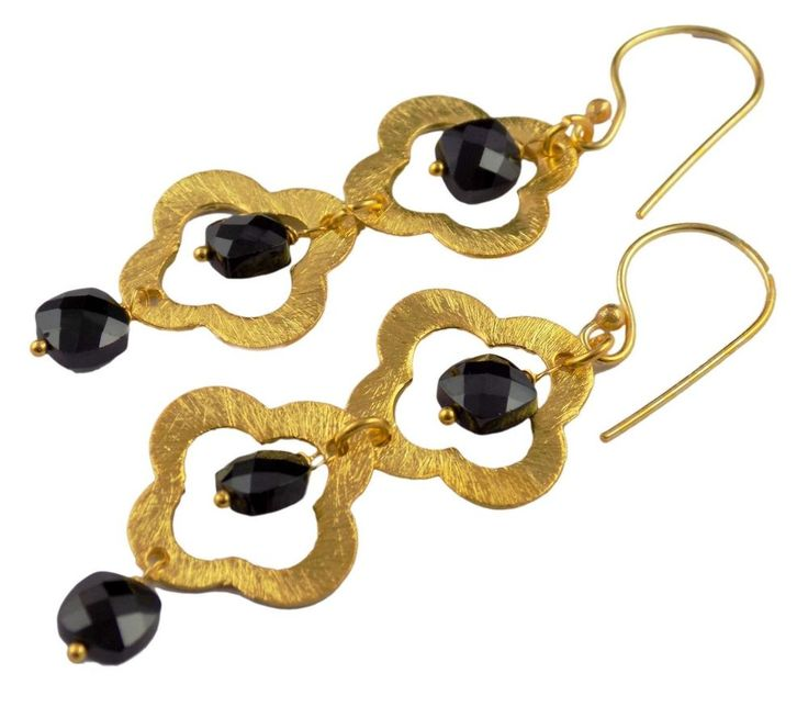 1 Pair Black Onyx Clover Charms Chandelier Hanging 24k Gold Plated Earring #RSAGARW