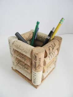 Wine Cork Pen Pencil Holder Desk Accessory by LizzieJoeDesigns - Now I know what to do with my cork collection!