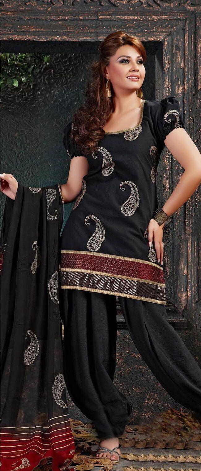 Nigrine #Black #Cotton #Salwar Kameez with Dupatta