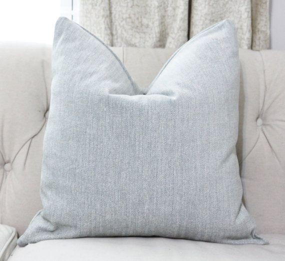 Designer Blue Pillow  Blue and Beige Herringbone by MotifPillows