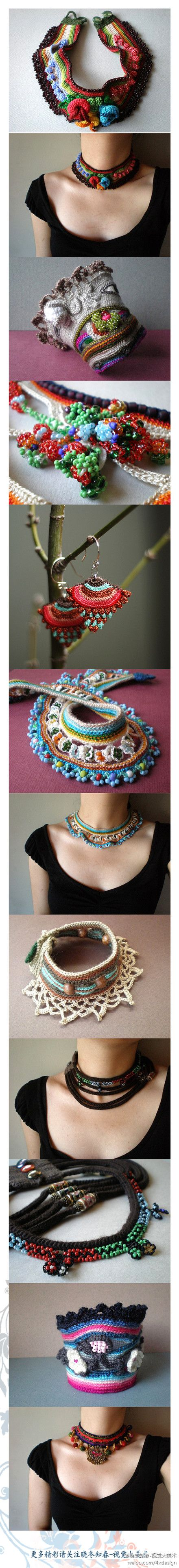 gorgeous crocheted cuffs, necklaces
