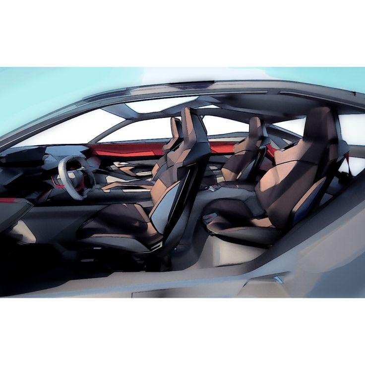 Interior sketch of inside the Peugeot Quartz concept car.