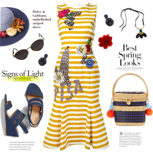 Sophie Anderson Cinto striped wicker basket bag by esch103 on Polyvore featuring Dolce&Gabbana, Talbots, Sophie Anderson, Gucci, Marni, Simonetta Ravizza, H&M, denim, dolceandgabbana and embellished