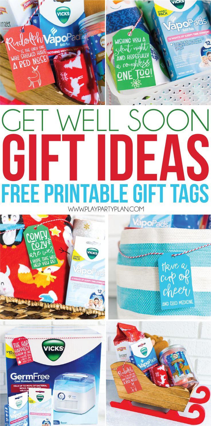 Looking for get well soon gift ideas for men, for women, or even kids? Put together one of these DIY care packages or gift baskets for friends or family with the printable get well soon gift tags to let them know you hope they feel better soon!  #vickshumidifier #ad