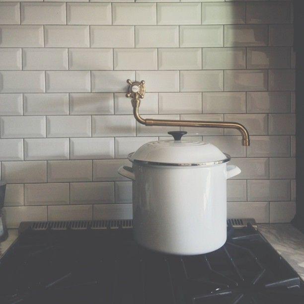 stovetop faucet nesting pinterest stove subway tile backsplash
