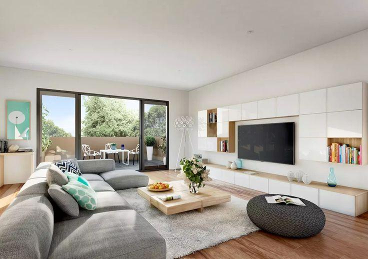 Salotto moderno con pareti bianche, divano grigio e pavimenti in legno chiaro, stile scandinavo. Parete attrezzata sospesa in bianco e legno