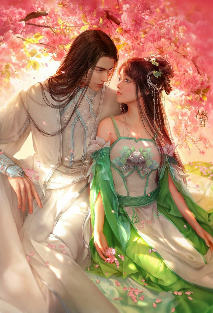 Couple Art Love First Snow Chinese Asian Anime Couples Fantasy Illustrations Artwork