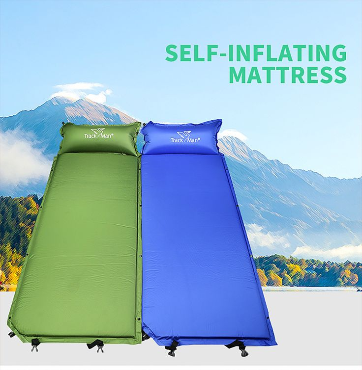 Self-Inflating Camping Sleeping Pad Outdoor Mat Splicing Thick Lightweight Camp Automatic Inflatable Air Mattress 183*67*3.8cm
