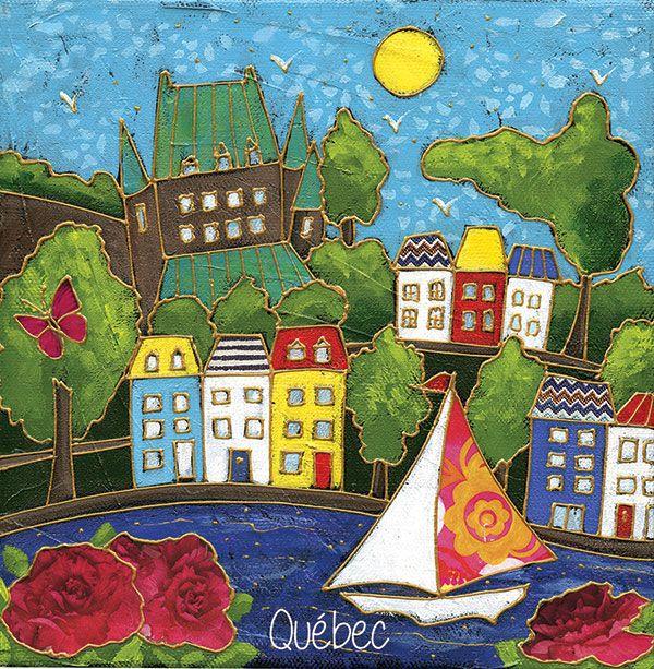 Le château frontenac et le voilier par Isabelle Malo • Acrylique sur toile et collage • Mixed media • Folk art • www.isamalo.com • Artiste peintre du Québec • Art naïf
