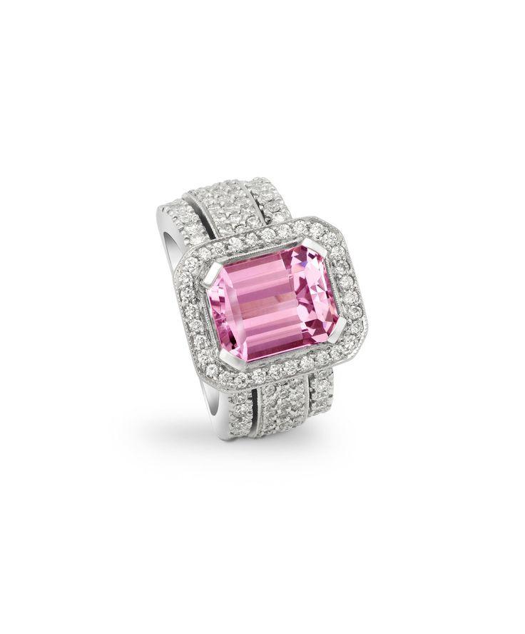 Handmade designer Jenna Clifford pink sapphire ring set with diamonds