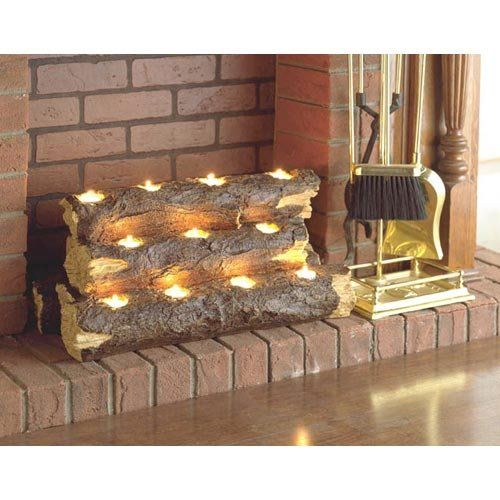 """""""burning log fireplace candelabra"""" would be nice for warmer climates to set a 'mood'"""