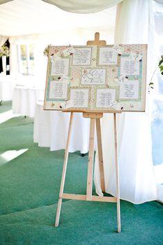 Handmade vintage inspired wedding table plan