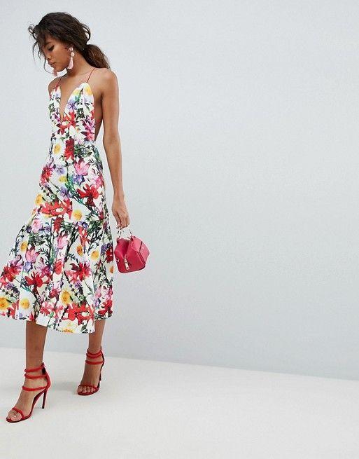 e63aab6f770 ASOS Tall   ASOS DESIGN Tall premium floral drop waist scuba prom dress