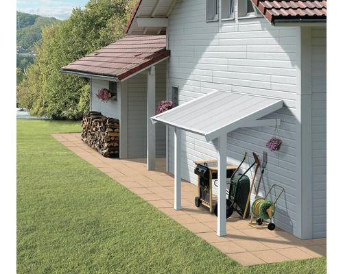 Schleppdach Grosfillex für Kunststoffgerätehaus, 119 x 222 x 188 cm, grau-weiß