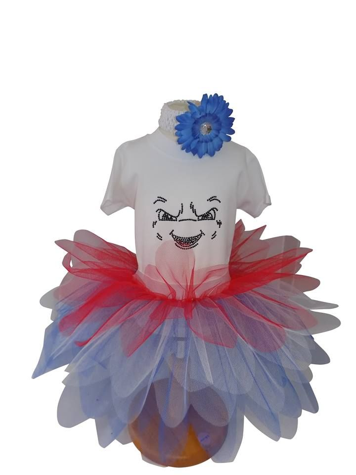 How cute is this Mr Stay Puft Marshmallow Man from Honey B's! #ghostbusters #mrstaypuftmarshmallowman #staypuft #marshmallow #red #blue #white #tutu #sparkle #diamante #costume #halloween
