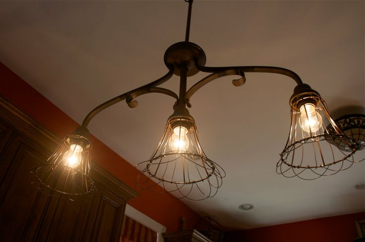 DIY Cage Lighting from existing fixture and cheap lamp shades