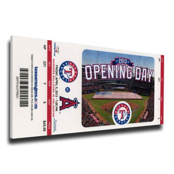 Texas Rangers 2013 Opening Day Mega Ticket - $79.99